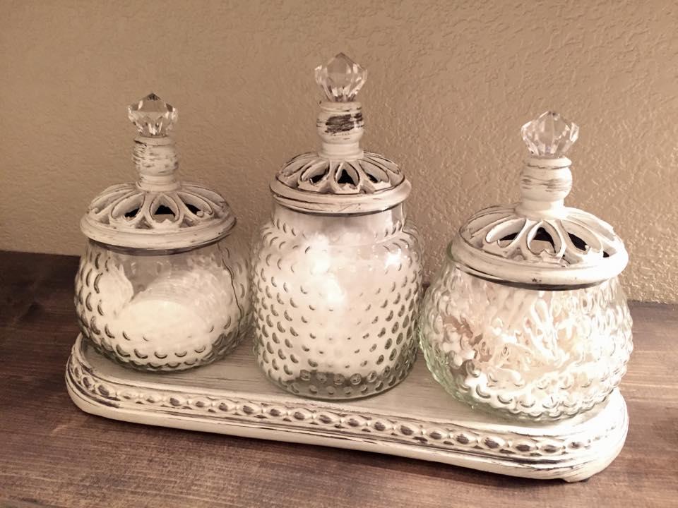 bathroom storage toiletries apothecary jars