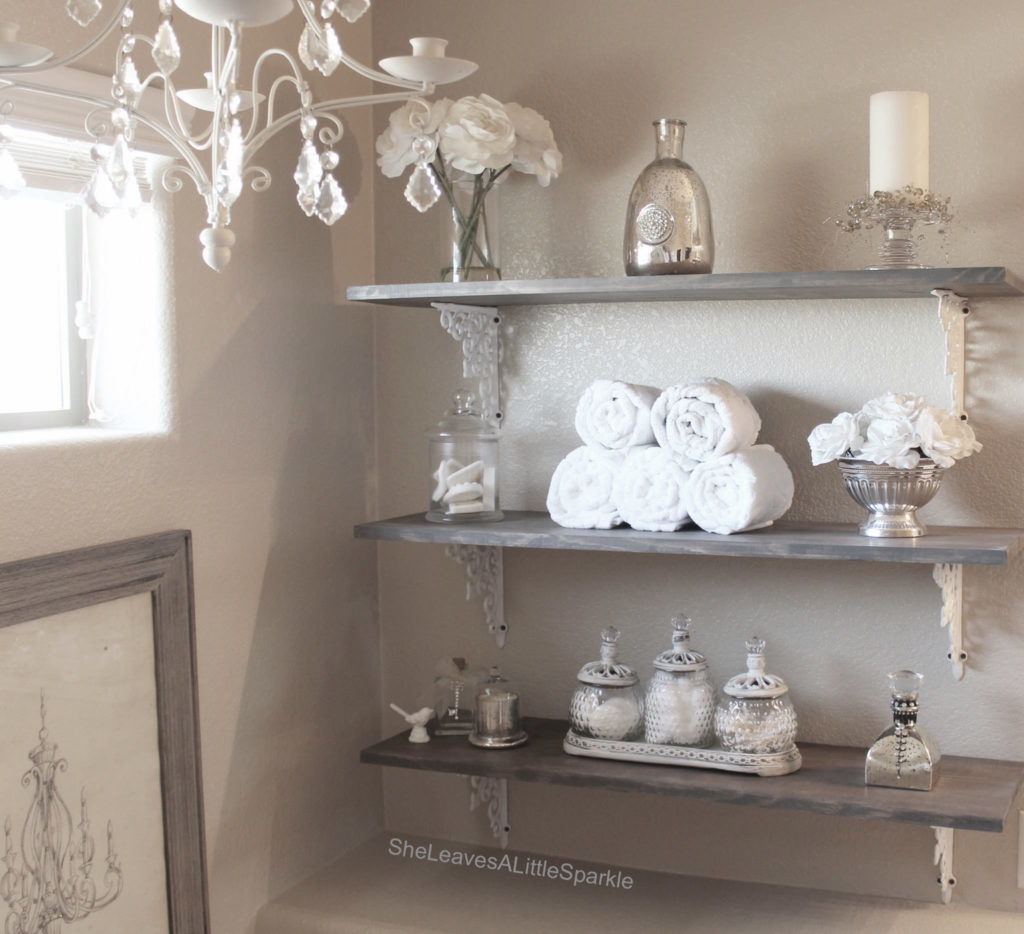 Bathroom Open Shelving Rustic Glam