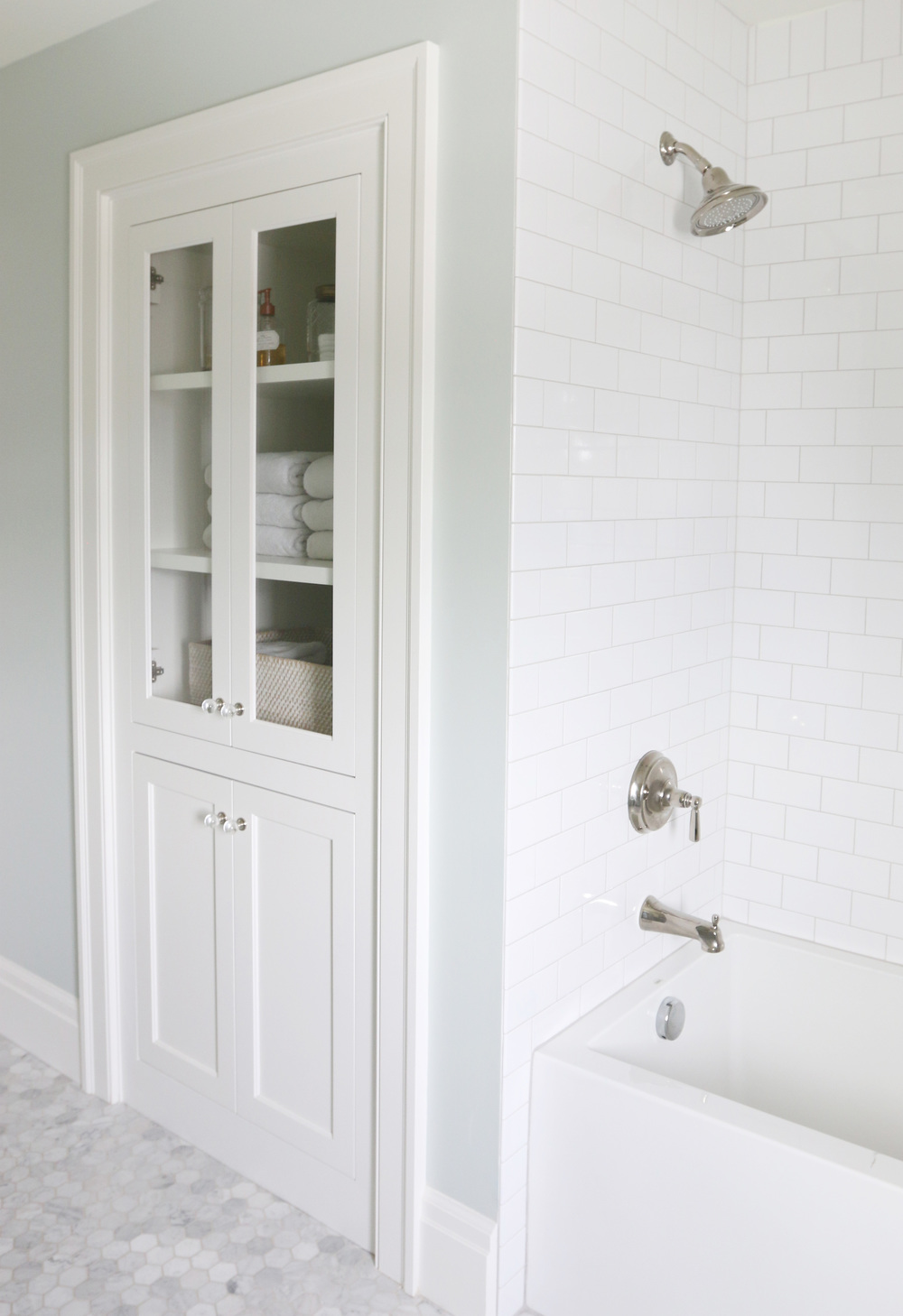 Subway+Tile+Shower+with+Gray+Grout+||+Studio+McGee