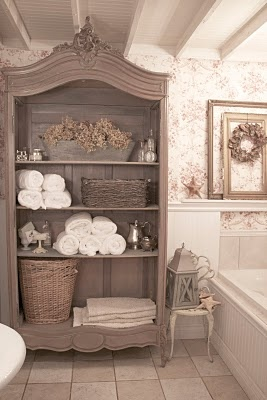 Open armoire bathroom storage