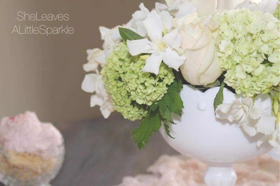 mothers day tablescape brunch fresh flowers blush cloth bow napkin blog hop floral arrangement milk glass