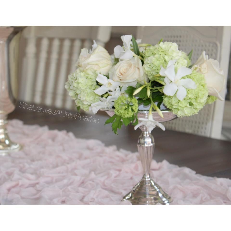 mothers day tablescape brunch vintage silver pedestal vase dish flowers