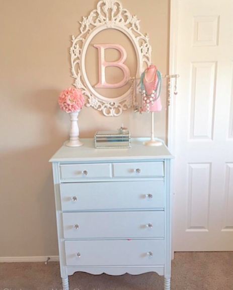 Captivating Girls Vintage Aqua Blue Dresser Shabby Chic Tween Girls Bedroom Makeover