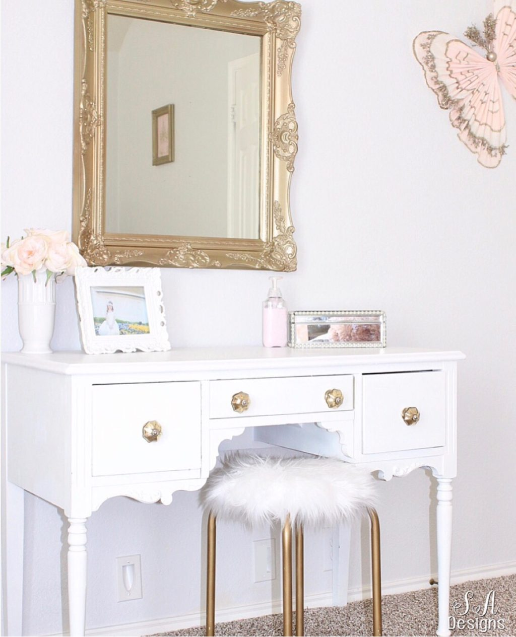 Tween Girls BEdroom Makeover White Gold Vanity Pottery Barn Kids