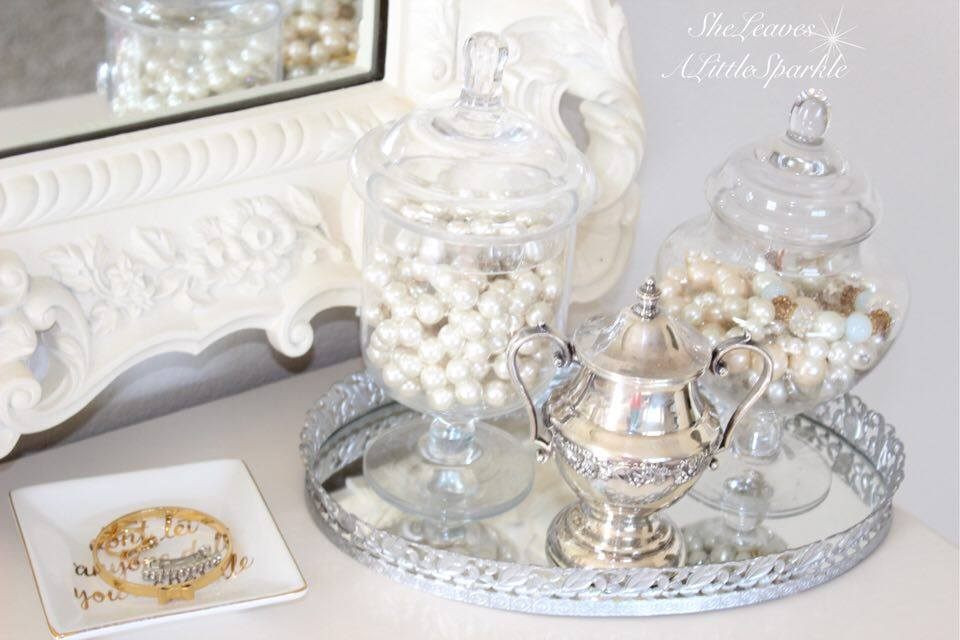 adding glam boudoir blog hop bedroom home decor she leaves a little sparkle apothecary jars with pearls vintage silver to display jewelry
