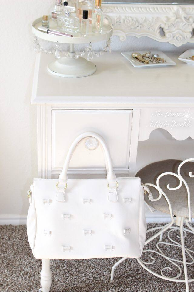 adding glam boudoir blog hop bedroom home decor she leaves a little sparkle betsey johnson white bow purse handbag