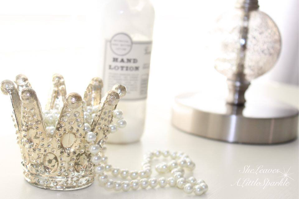 adding glam to your boudoir blog hop bedroom home decor she leaves a little sparkle mercury glass crown pearl necklace