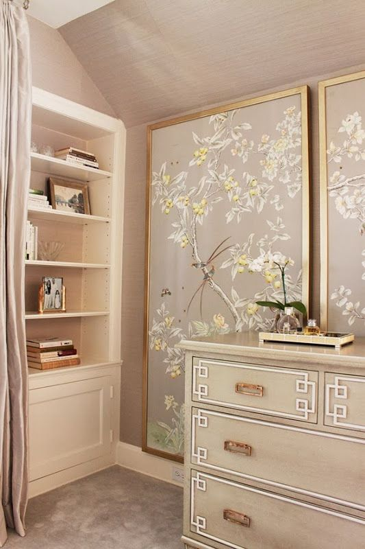 framed wallpaper panels blush gold floral wallpaper office makeover