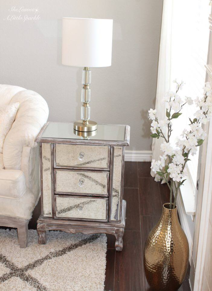 Living Room Tour Part One 1 Mirrored End Table Nightstand Target Lamp Mixing Metals