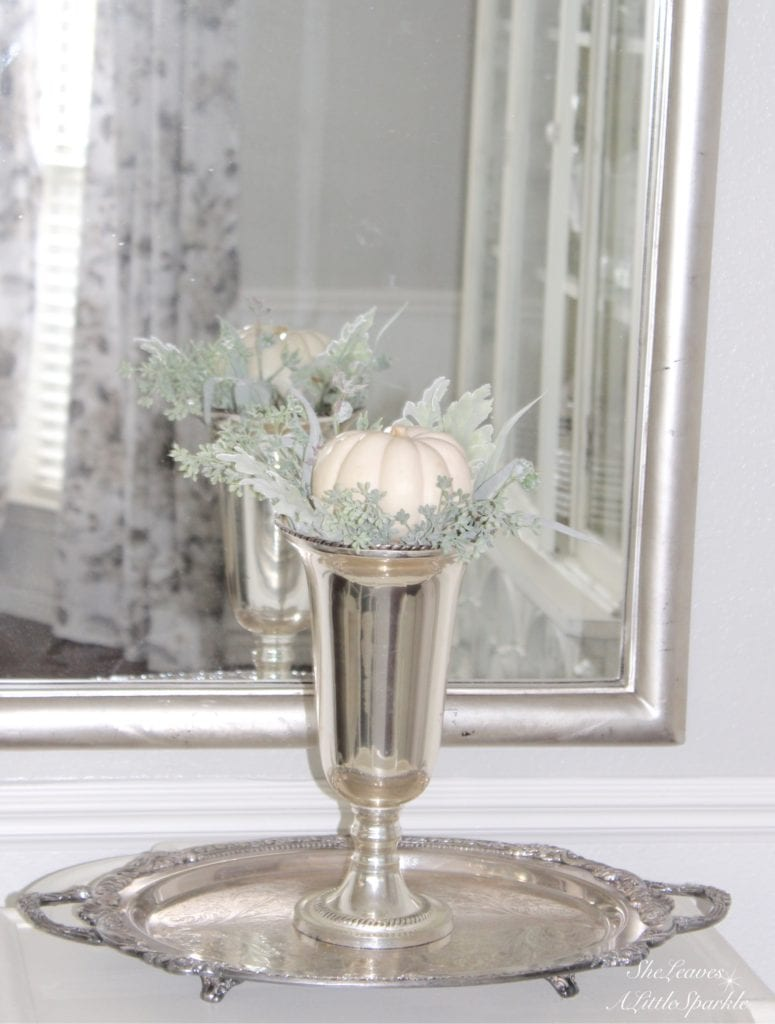 white mini pumpkins, silver trophy case, pumpkin topiary, antique silver platter tray, how to decorate with pumpkins