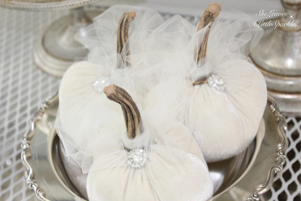 harvest haven fall tour 2016 home decor blog hop glamkin glampkin white velvet bling pumpkin candice lee chamberlain cinderella pumpkin