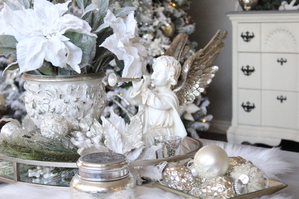 Home For The Holidays Blog Tour 2016 Styling a coffee Christmas table Restoration Hardware baluster table white f tiling a coffee Christmas table Restoration Hardware baluster table white fur Angel glam sparkly