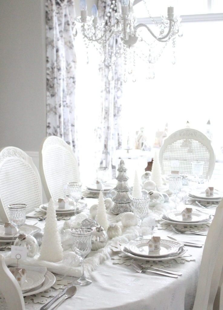 adding glam to christmas decor winter wonderland tablescape