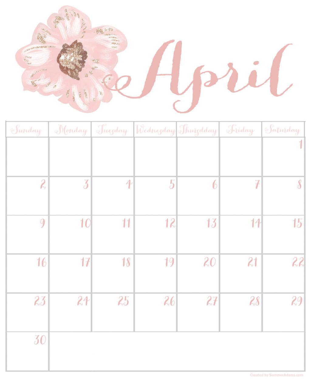 Printable Calendar April 2017 free april 2017 printable calendar - summer adams