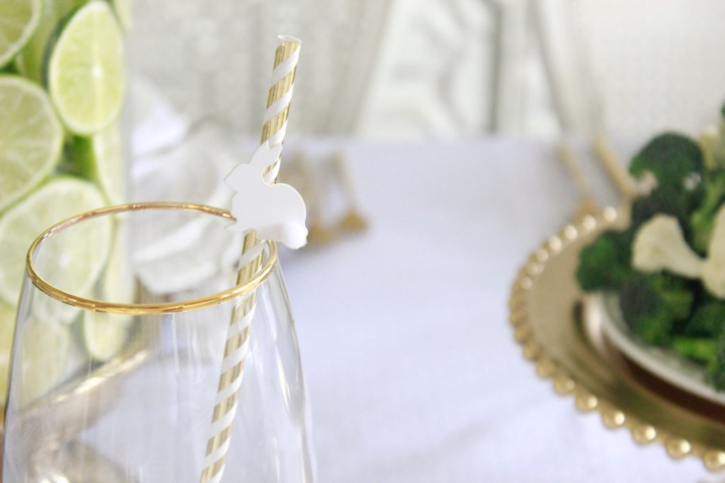 I Added Some Gold Foil Bunny Straws, Also From The Target Dollar Spot It  Adds Some Fun To This Elegant Table And I Think My Kids Are Going To Love  It