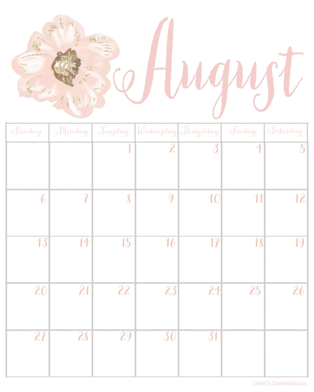 2017 Calendars - July through December - Summer Adams