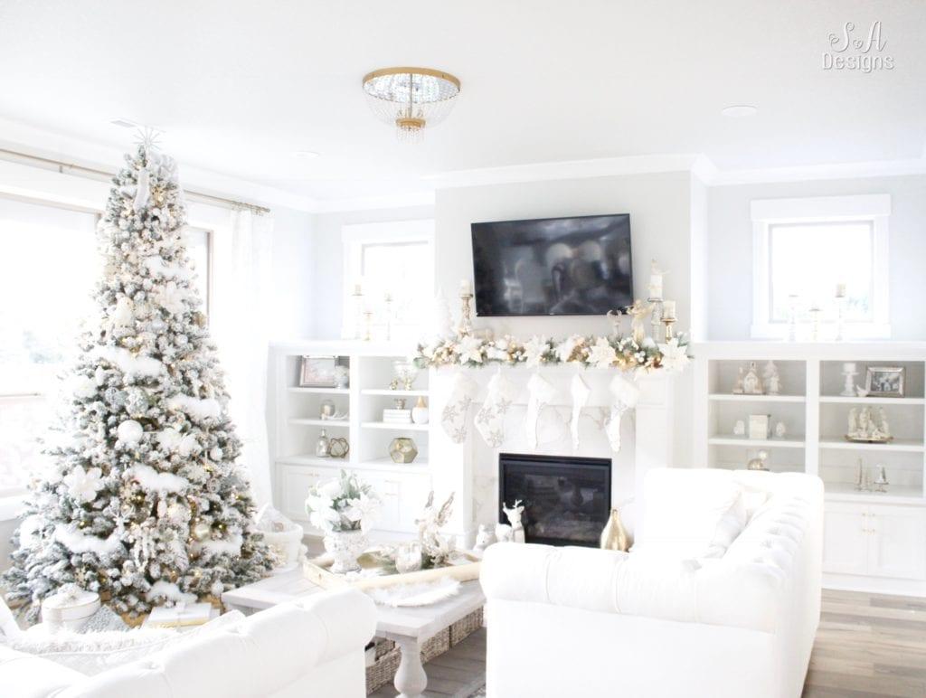 Winter Wonderland Flocked Christmas Tree & Mantel - Summer Adams
