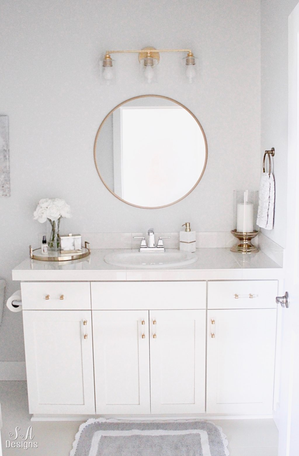 Bright White Guest Bathroom Transitional Elegant Summer Adams