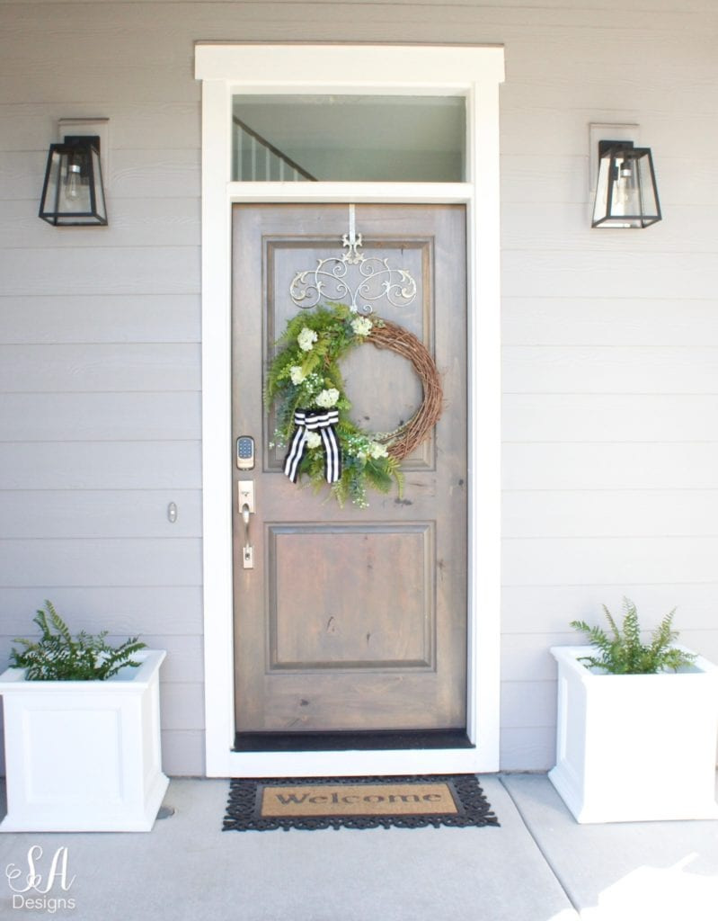 DIY faux greenery Lovely Green Asymmetrical Wreath and my front porch craftsman style home coastal home exterior pacific northwest