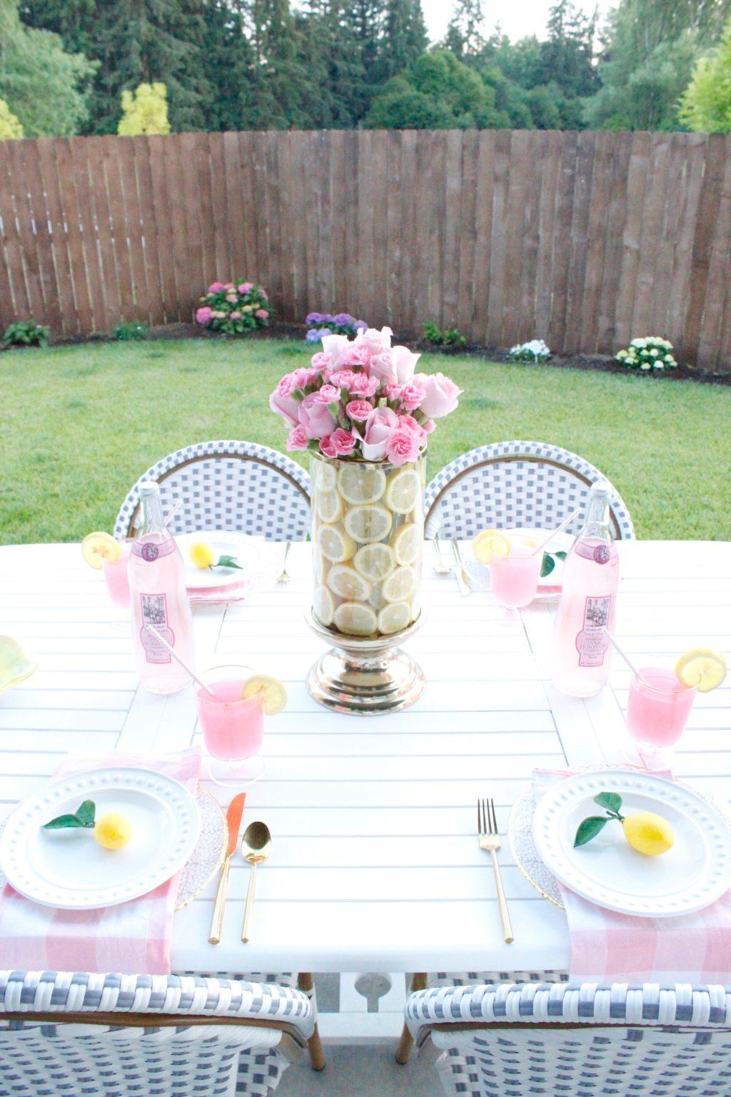 Pink Lemonade Outdoor Dining Table For Girls Night - Summer Adams