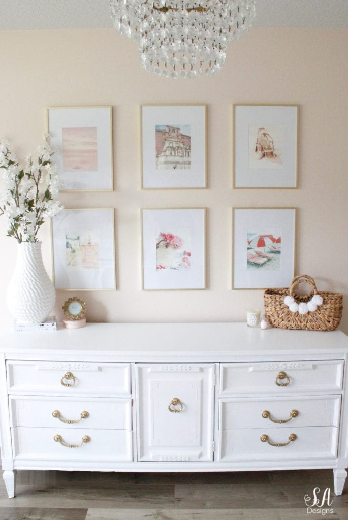 blush pink glam style office fashion travel design gallery wall frames