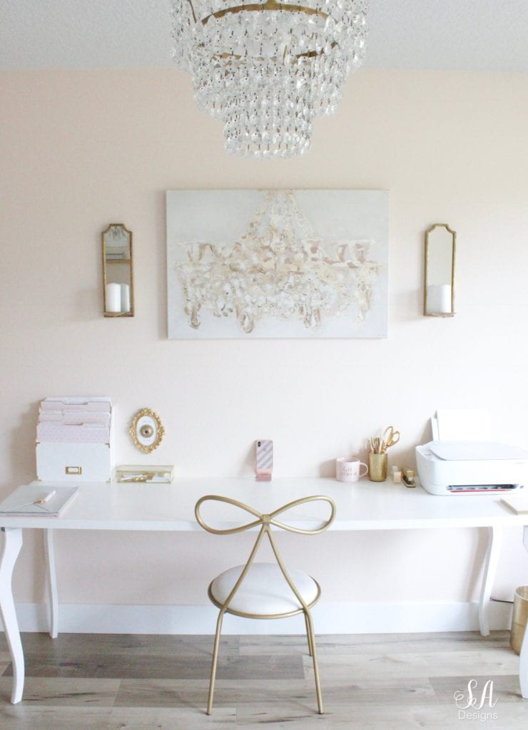 pottery barn teen bow chair, oliver gal chandelabro canvas art, ikea white desk, press for diet coke bell wall plaque, chic glam office accessories