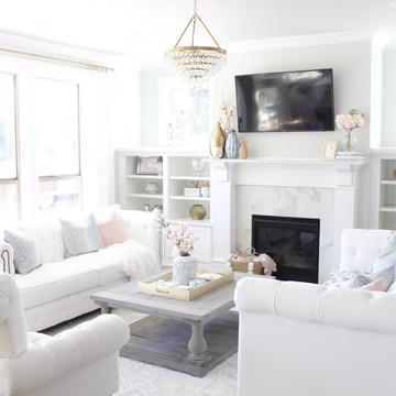Living Room Update: New Chandelier, Rug & Art