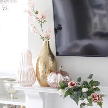 blush pink glass pumpkins, homegoods pumpkins, blush glam fall mantel decor, eucalyptus blush pink mauve roses swag